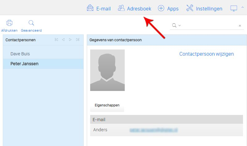 Contactpersoon in webmail
