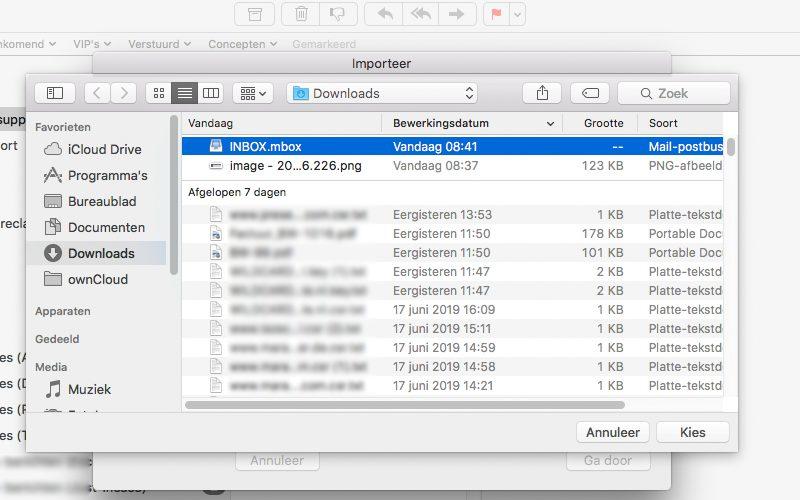 Inbox importeren Mac OS