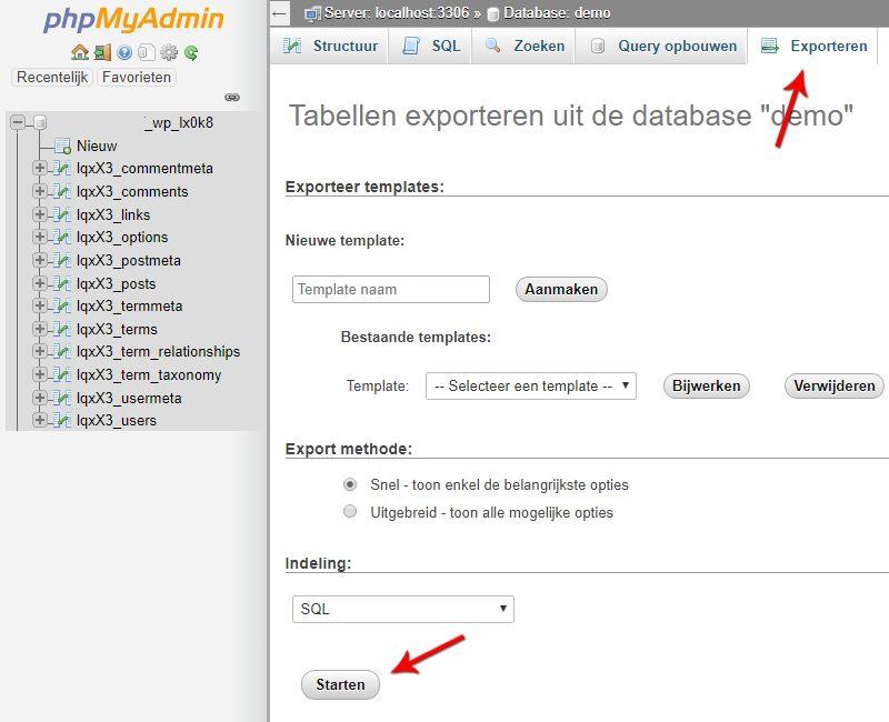 Exporteren database