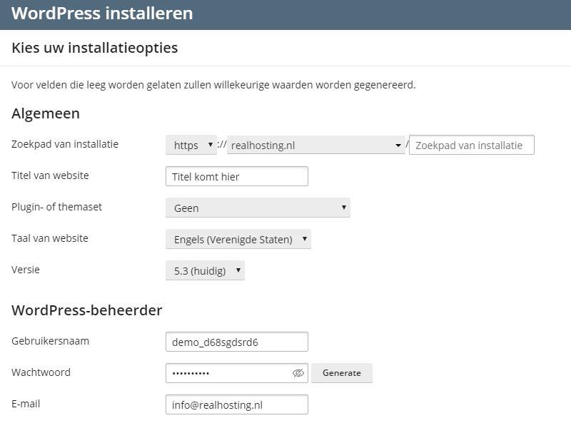 WordPress gegevens invoeren