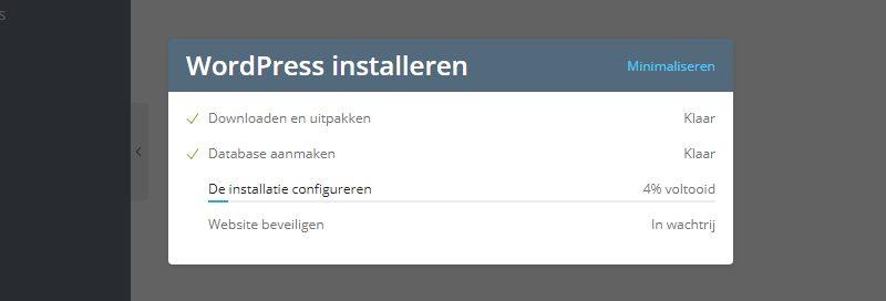 WordPress installeren popup