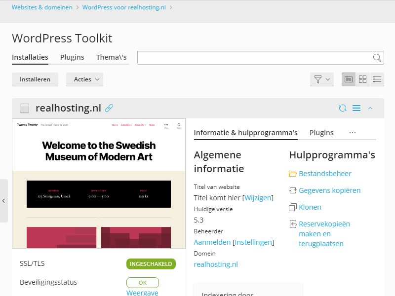 WordPress is geinstalleerd via de WordPress Toolkit