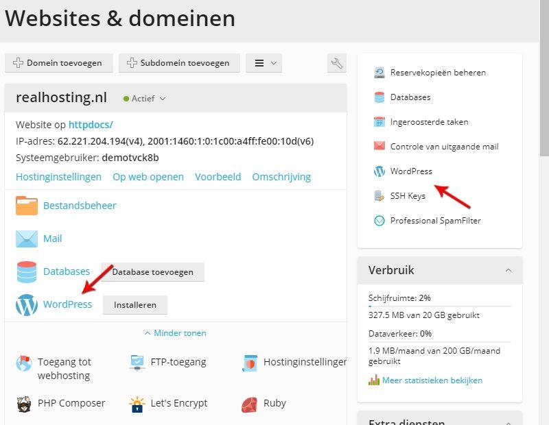 WordPress openen in Plesk